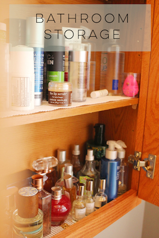 Justina's bathroom storage for beauty products
