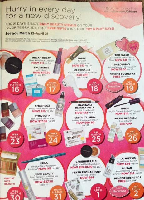 Ulta 21 Days of Beauty Spring 2016 event calendar p. 2 neversaydiebeauty.com @redAllison