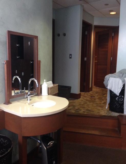 Bella Sante Spa Boston locker room sink & sauna area neversaydiebeauty.com @redAllison