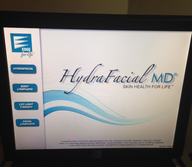 HydraFacial MD logo and device computer screen neversaydiebeauty.com @redAllison