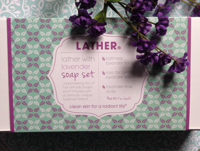 LATHER Lavender Soap Set box label closeup neversaydiebeauty.com
