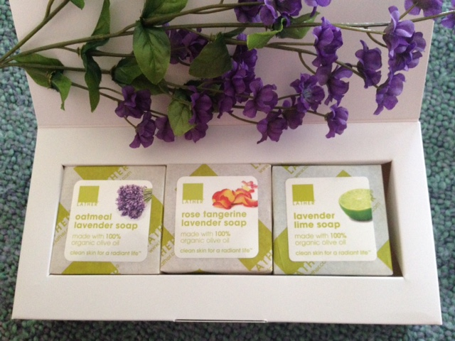 LATHER Lavender Soap Set open box with 3 soaps neversaydiebeauty.com @redAllison