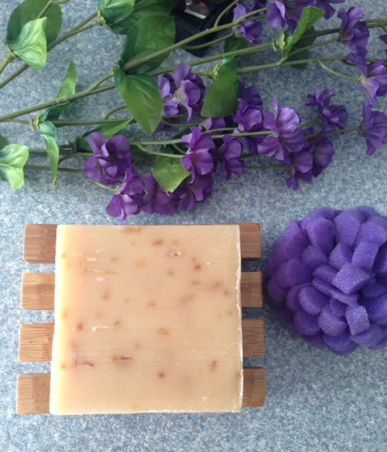LATHER rose tangerine lavender soap on a bamboo wood soap dish neversaydiebeauty.com @redAllison