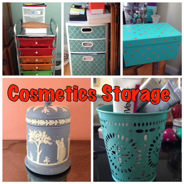 collage of storage solutions for my cosmetics collection neversaydiebeauty.com @redAllison
