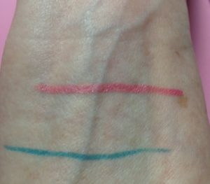 BeYu Cosmetics Soft Liner 588/pink & 667/turquoise swatches neversaydiebeauty.com @redAllison