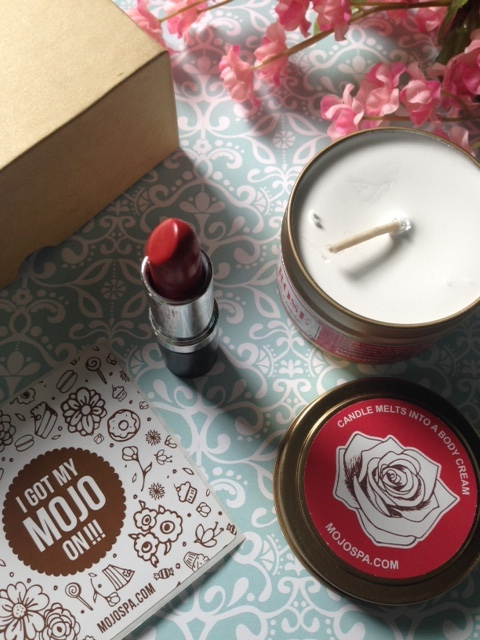 MojoSpa lipstick and candle melt body cream neversaydiebeauty.com @redAllison