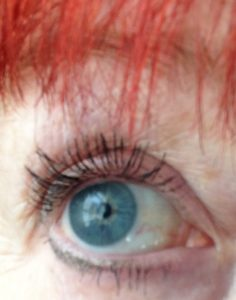 my eyelashes after using castor oil for several weeks: open eye photo of my lashes neversaydiebeauty.com