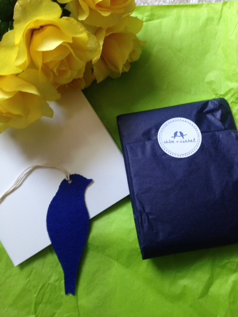 Chloe + Isabel logo bird and packaging neversaydiebeauty.com @redAllison