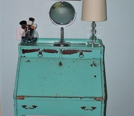 makeup storage solution: an antique desk