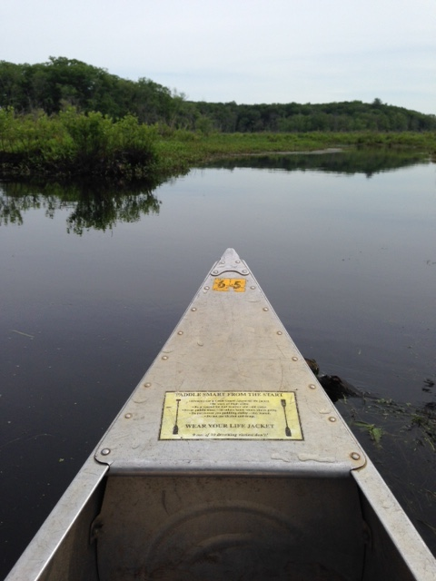 tip of our rented canoe on the Ipswich River