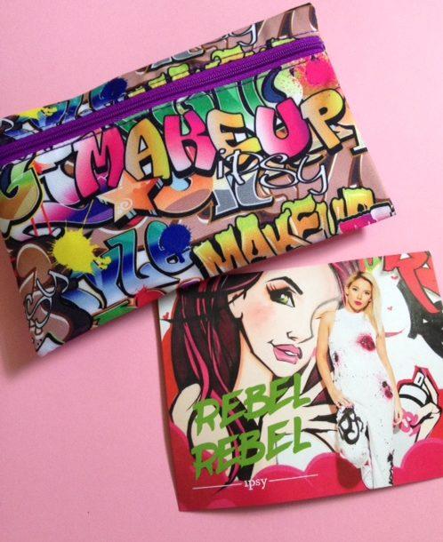 ipsy Rebel Rebel graffiti covered makeup bag & theme card June 2016 neversaydiebeauty.com @redAllison
