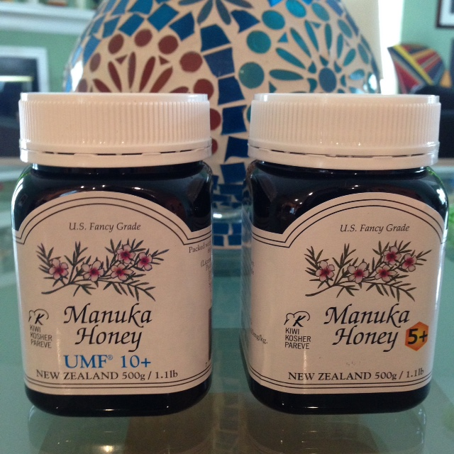 two jars of Manuka Honey from New Zealand, 5+ and UMF10+ neversaydiebeauty.com @redAllison