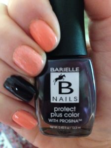 my NOTD w Barielle Protect Plus Color Nail Polish with ProSina in Blossom w accent nail, Edgy neversaydiebeauty.com @redAllison