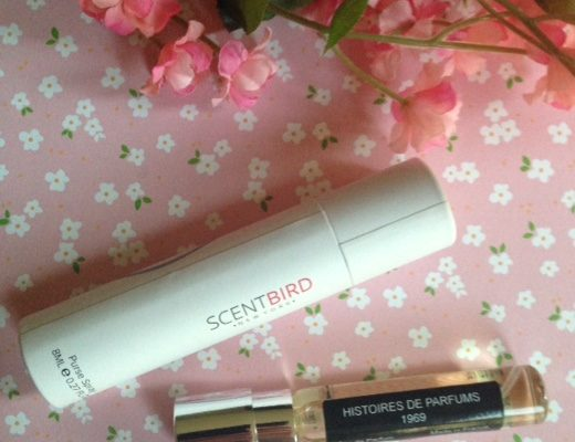 Scentbird cardboard tube and glass purse spray, Histoire de Parfums 1969 neversaydiebeauty.com @redAllison
