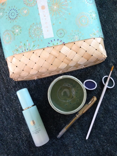 Tatcha Water Gel Moisturizer and calligraphy instruments neversaydiebeauty.com @redAllison