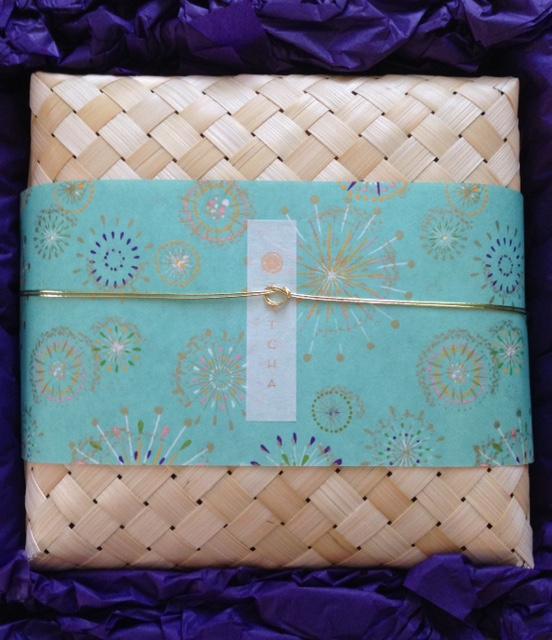 Tatcha straw gift box with rice paper neversaydiebeauty.com @redAllison