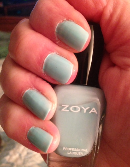 Zoya Lillian nails with polish bottle neersaydiebeauty.com @redAllison