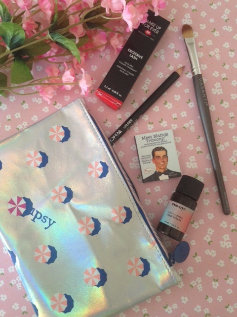 ipsy bag for July 2016, Hot Summer Nights, and the cosmetics that came in the bag neversaydiebeauty.com @redAllison