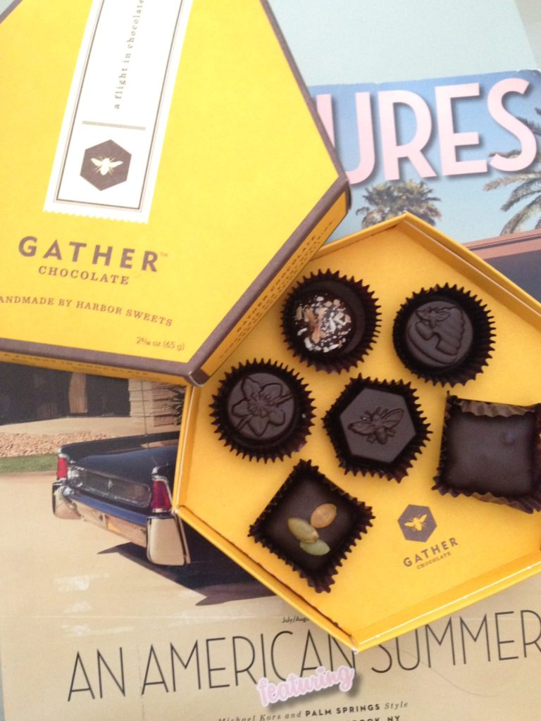 open box of Harbor Sweet's new Gather chocolates neversaydiebeauty.com