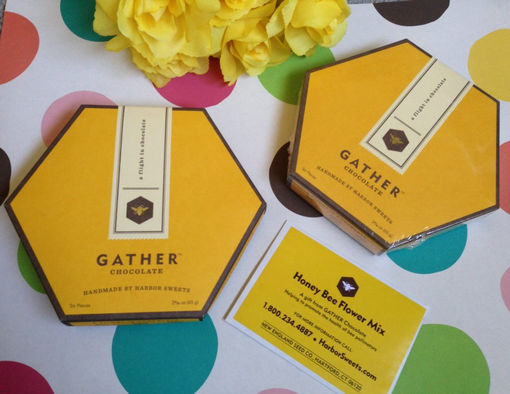 Harbor Sweet's Gather chocolates: two boxes along with a pack of wildflower seeds neversaydiebeauty.com