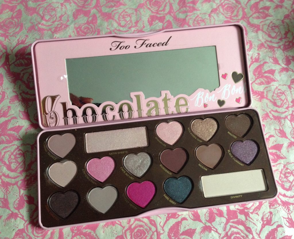 Too Faced Chocolate Bon Bons Shadow Palette, open to reveal the pans neversaydiebeauty.com