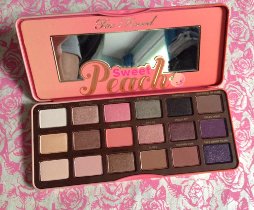Too Faced Sweet Peach shadow palette, open to show pans neversaydiebeauty.com