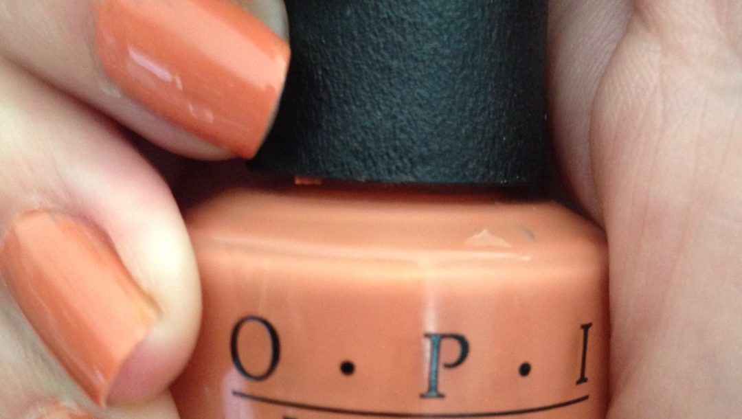OPI Freedom of Peach nail polish, bottle and nails neversaydiebeauty.com