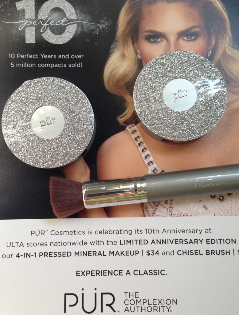 PUR Cosmetics 10th Anniversary Pressed Powder LTD Edition Compacts & Chisel Brush neversaydiebeauty.com