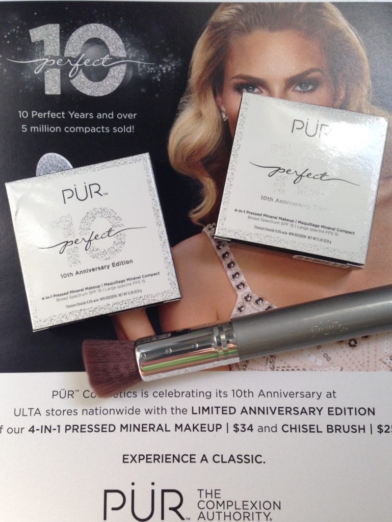 PUR Cosmetics 10th anniversary Pressed Powder Mineral Makeup Compacts & Chisel Brush neversaydiebeauty.com