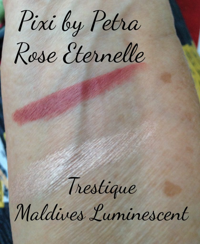 swatches of Pixi by Petra Rose Eternelle Lipstick & TreStique Maldives Luminescent stick neversaydiebeauty.com