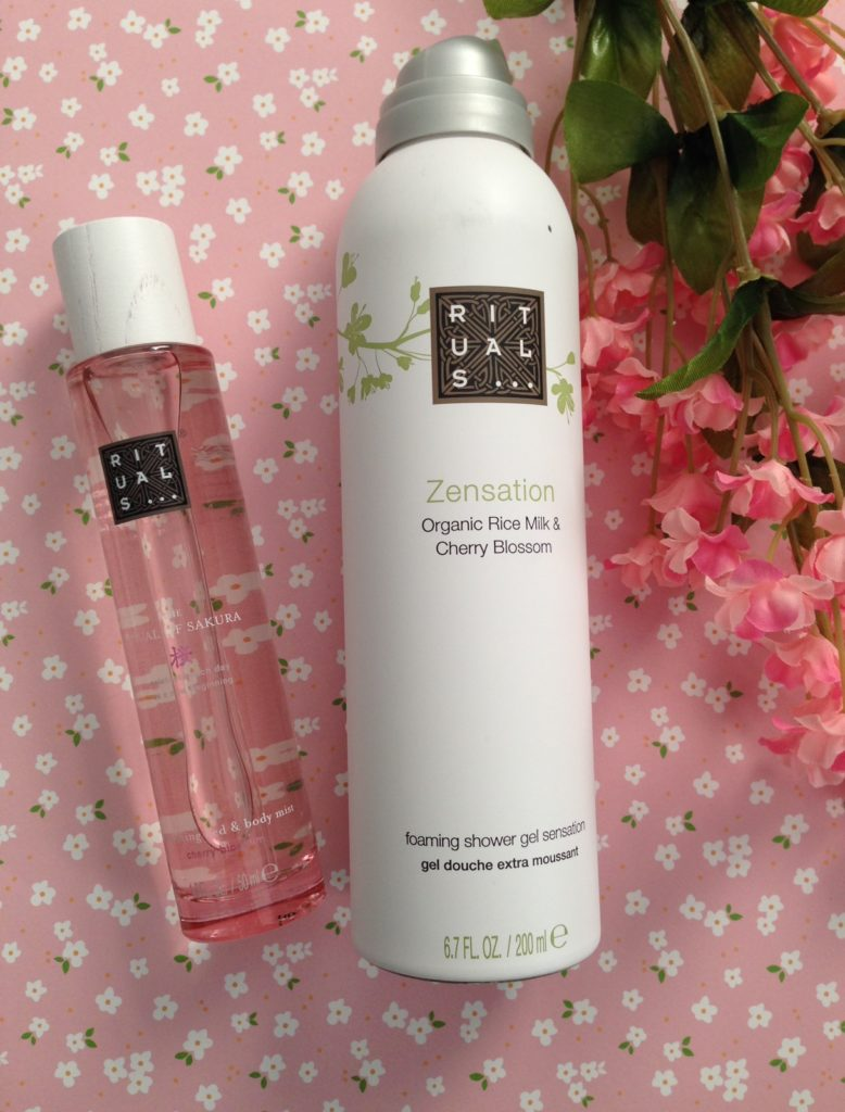 Rituals SPA Ritual of Sakura Bed and Body Mist and Zensation Organic Rice Milk & Cherry Blossom shower gel neversaydiebeauty.com