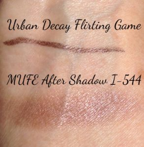 Sephora eye pencil Flirting Game, MUFE Artist Shadow I-544 swatches neversaydiebeauty.com