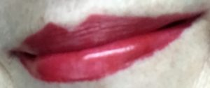 lips wearing Tarte Lip Sculptor Harlequin lipstick