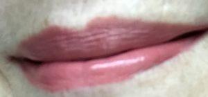 lips wearing Tarte Lip Sculptor lipstick, Sass neversaydiebeauty.com