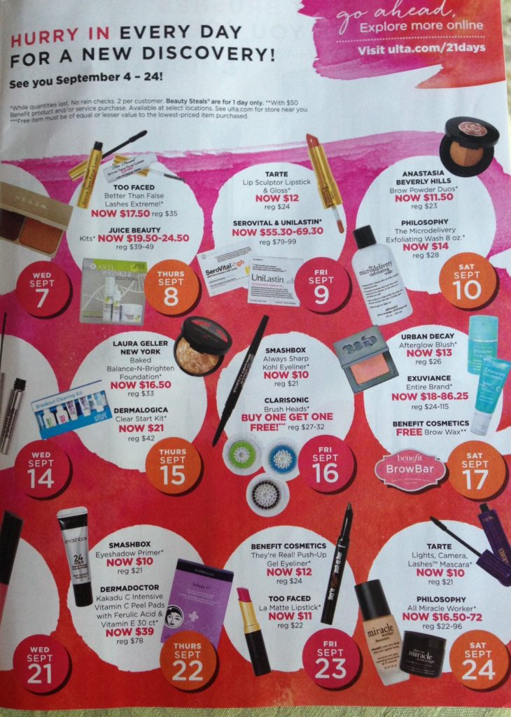 Ulta 21 Days of Beauty Fall 2016 calendar p.2 neversaydiebeauty.com