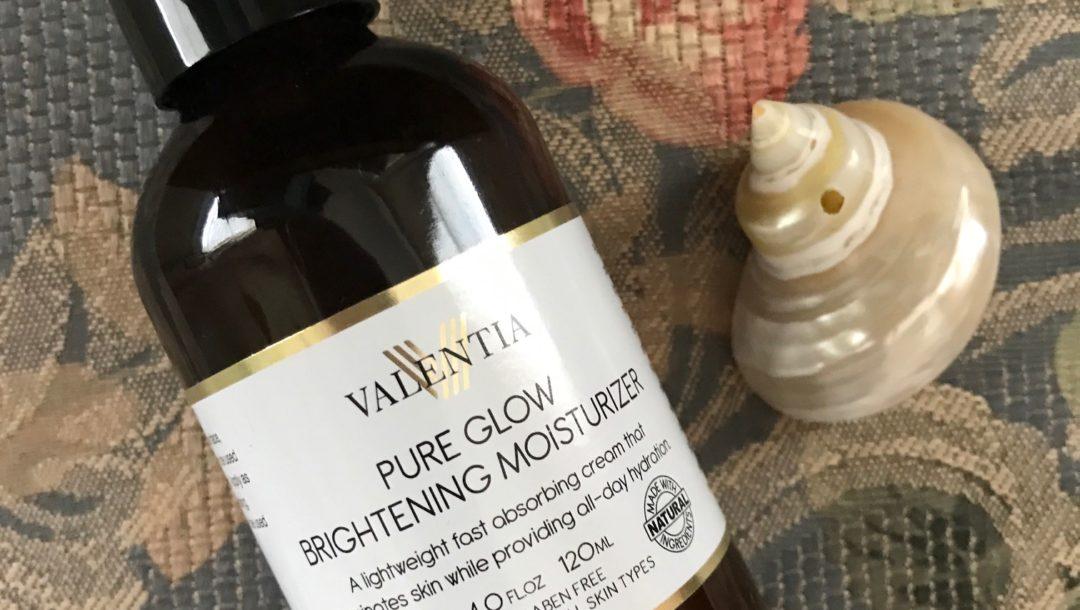 Valentia Pure Glow Brightening Moisturizer amber pump bottle, neversaydiebeauty.com