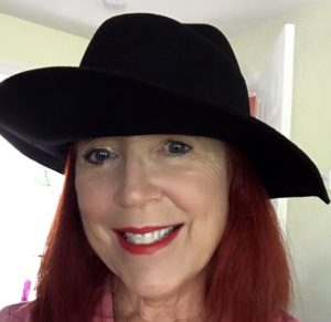 me wearing Jack & Lucy black felt hat with brim up & down neversaydiebeauty.com