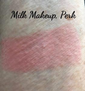 swatch of Milk-Makeup lip-cheek stick, shade Perk neversaydiebeauty.com