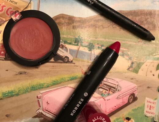 3 current favorite makeup products: Korres lip crayon, Prestige Total Intensity Eyeliner Pencil, All Natural Face Cheek Blush in Dusky Rose, neversaydiebeauty.com