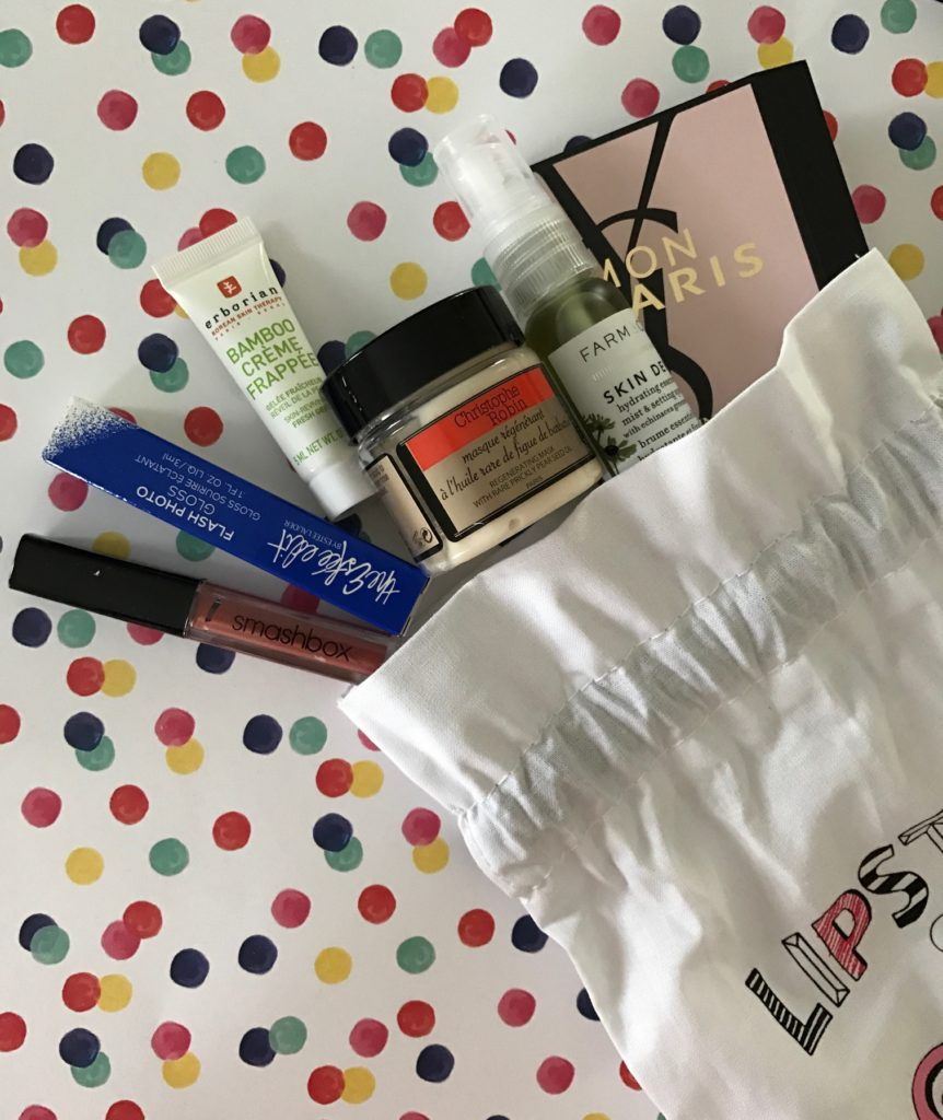 cosmetics spilling out of Sephora Play! drawstring bag October 2016 neversaydiebeauty.com