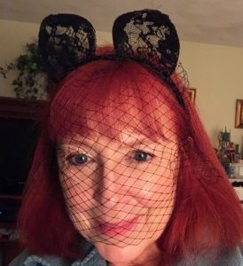 me wearing black lace cat ears & veil neversaydiebeauty.com