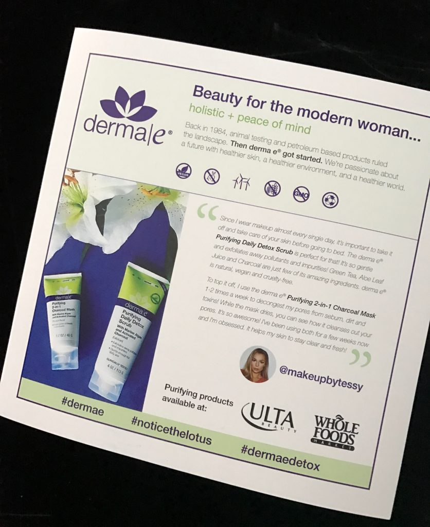 derma e Purifying skincare products info card neversaydiebeauty.com
