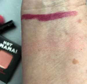 swatches of noyah Currant News lipstick & theBalm Hot Mama Blush neversaydiebeauty.com