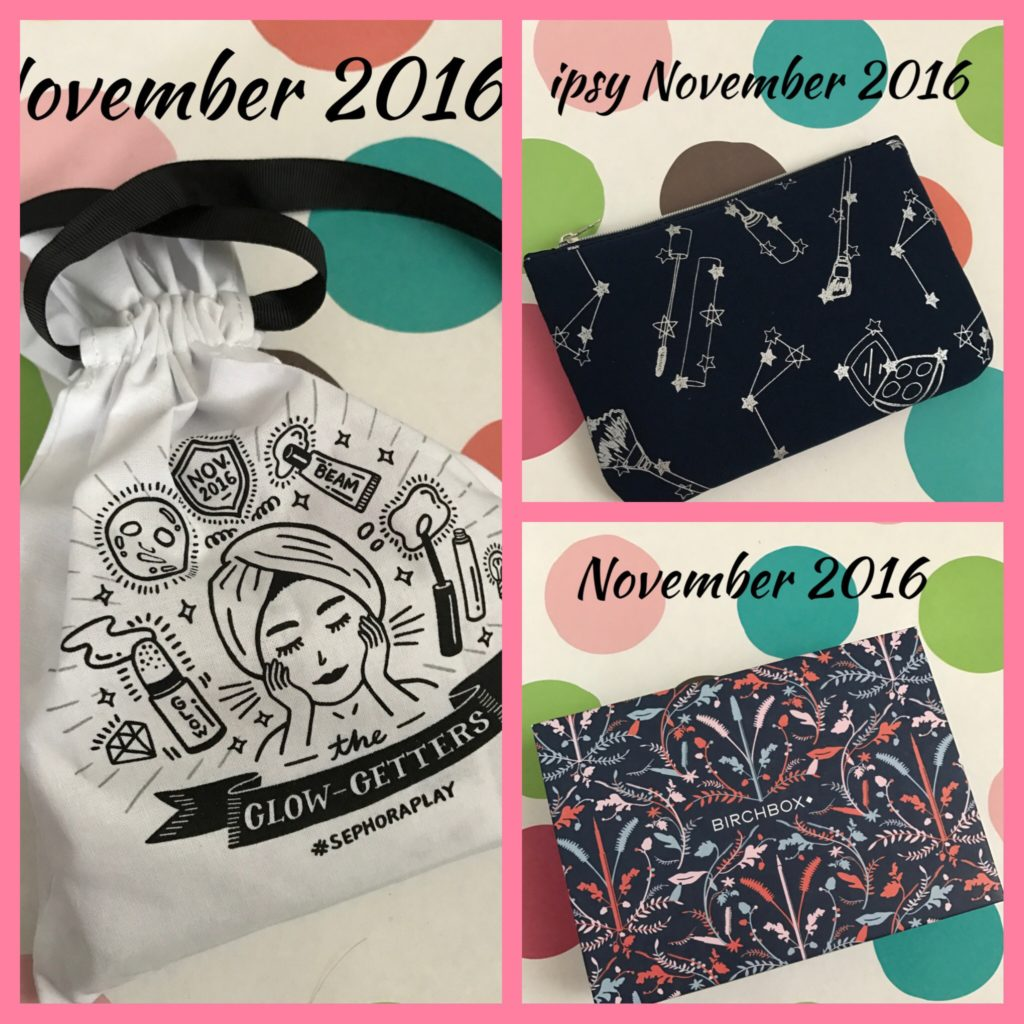 $10 cosmetics subscription boxes: Ipsy, Birchbox, Sephora for November 2016 neversaydiebeauty.com