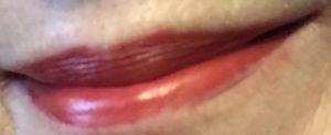 my lips wearing Besame 1946 red lipstick neversaydiebeauty.com