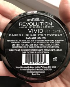 Makeup Revolution Highlighter label neversaydiebeauty.com