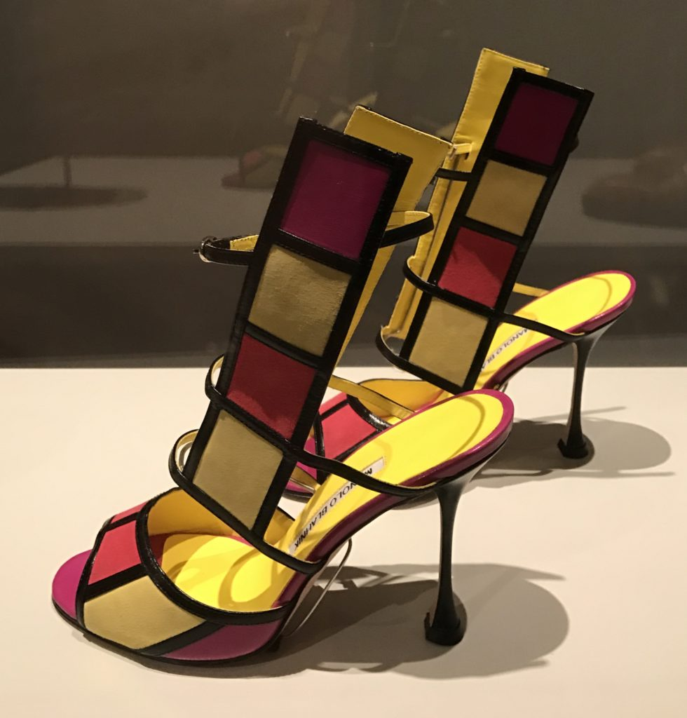 Color block Manolo Blanik shoes, Peabody Essex Museum exhibit