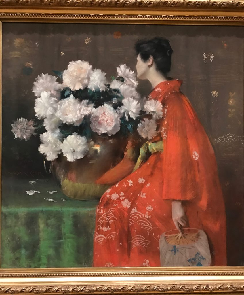 Woman with Chrysanthemums, painting by William Merritt Chase at MFA