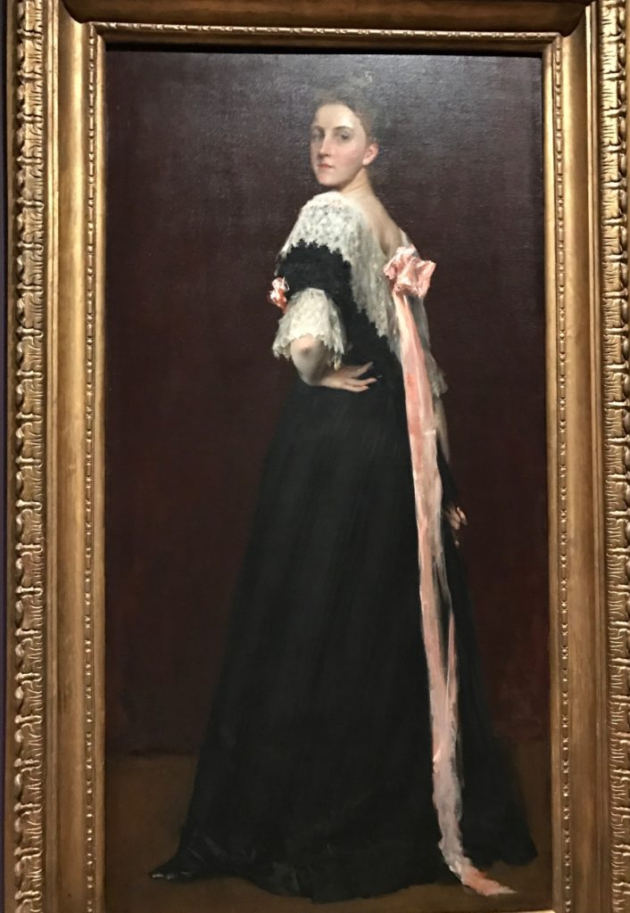Woman with Black Dress and Pink Bow, painting by William Merritt Chase at MFA exhibit
