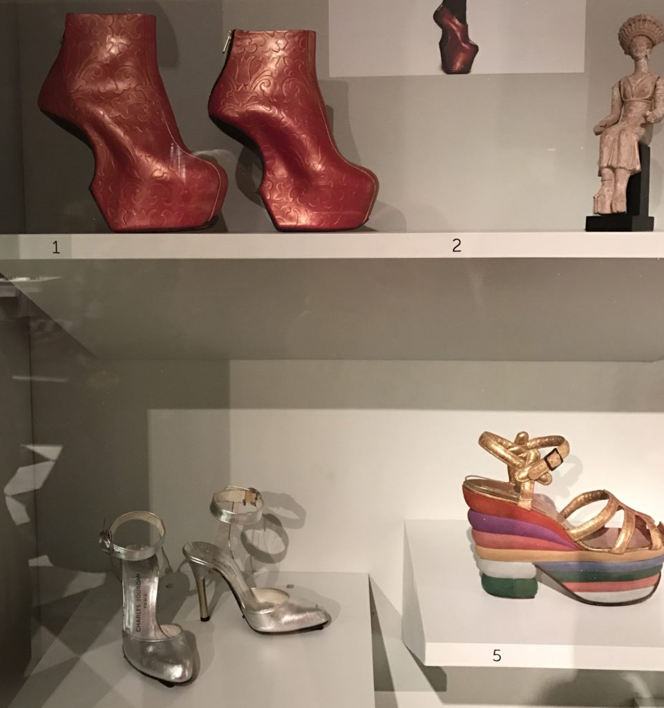 "several pairs of contemporary women's sandals and boots, Peabody Essex Museum ""Shoe"" exhibit"
